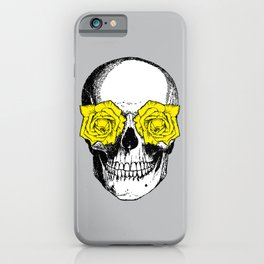 Skull and Roses | Skull and Flowers | Vintage Skull | Grey and Yellow | iPhone Case