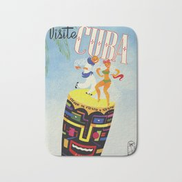 Visit Cuba - Vintage Caribbean Travel Poster Bath Mat