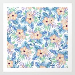 Tropical coral lilac lavender blue watercolor floral Art Print
