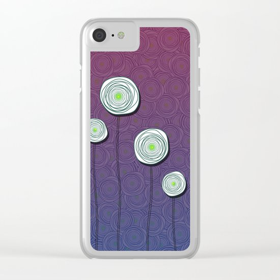 Abstract Flower Design Clear iPhone Case