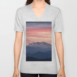 Pink And Blue Pastel Mountains Sky Landscape Sunrise Landscape Unisex V-Neck