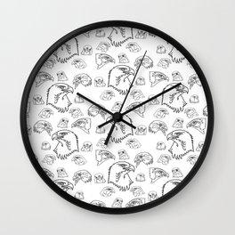 Birds of Prey - black on white Wall Clock