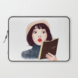 French woman with book Laptop Sleeve