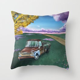 Flower Truck Throw Pillow