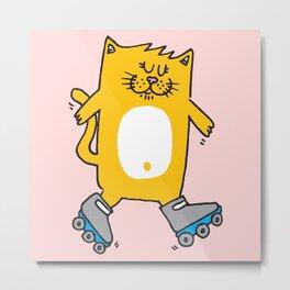 Meow is skating Metal Print