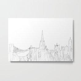 Bristol, UK Skyline B&W - Thin Line Metal Print
