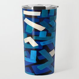 "Original Abstract Acrylic Painting by Ejaaz Haniff ""Blue Jazz"" Blue Geometric Colorful Pattern On Bl Travel Mug"