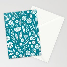 Blooming Field - teal Stationery Cards