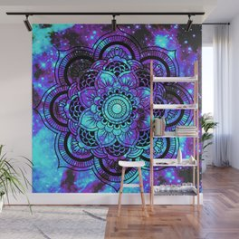 Mandala : Bright Violet & Teal Galaxy 2 Wall Mural