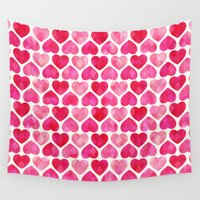 ruby Wall Tapestries featuring RUBY HEARTS by Daisy Beatrice