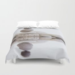 Stone Balance pebble cairn and water Duvet Cover