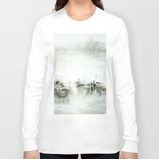 boats on the river Long Sleeve T-shirt