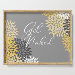 Get Naked Floral, Gray, Yellow Serving Tray