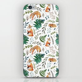 Foxes and Ferns Pattern iPhone Skin