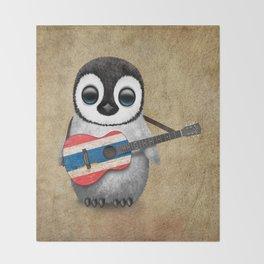 Baby Penguin Playing Thai Flag Guitar Throw Blanket