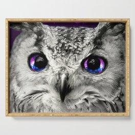 Galaxy Owl Eyes Serving Tray