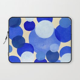 Colorful Blue White Watercolor Bubbles Laptop Sleeve