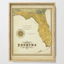 Antique Map of the State of Florida Serving Tray