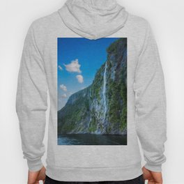 One of the numerous waterfalls falling down the sheer cliffs at Milford Sound. Hoody