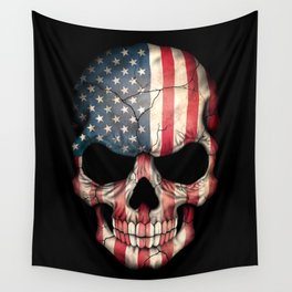American Flag Skull on Black Wall Tapestry