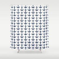 preppy Shower Curtains featuring Preppy Anchor Pattern - White and Navy Blue Nautical by Nautical Home Decor & Beach House Decor