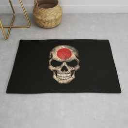 Dark Skull with Flag of Japan Rug