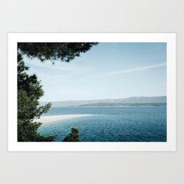 Zlatni Rat, Croatia. Beautiful beach and blue sea Art Print