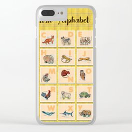 hand drawn animals poster for all English letters Clear iPhone Case