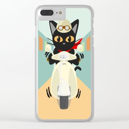 Scooter in the town Clear iPhone Case