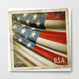 Grunge sticker of United States flag Metal Print