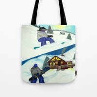 snowboarding Tote Bags featuring Snowboarding ; Putting In Your Eight Hours by N_T_STEELART