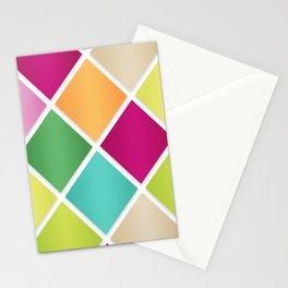 Modern Diamond Geometric Pattern Design // Pink Orange Green Blue Stationery Cards