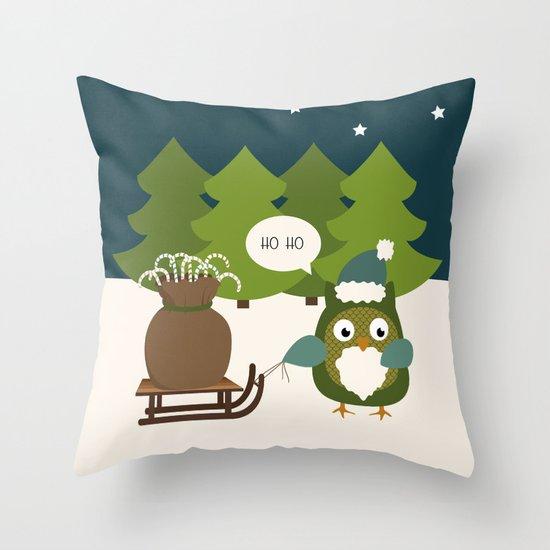 Santa Owl Throw Pillow