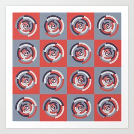 Spinning colourful rings on red and grey chessboard Art Print