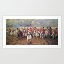 Charge of the Scots Greys at Waterloo Art Print