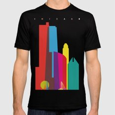 Shapes of Chicago. Accurate to scale MEDIUM Black Mens Fitted Tee