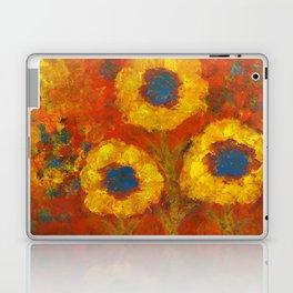 Sunflowers with a golden sun Laptop & iPad Skin