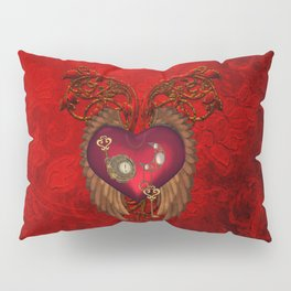 Wondeful heart with clocks and gears on red vintage background Pillow Sham