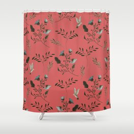 Coral Rose and Bluebells and Bluebirds Floral Pattern Flowers in Blue and Bark Brown Shower Curtain