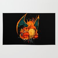 charizard Area & Throw Rugs featuring Splatter Zard by Domadraghi