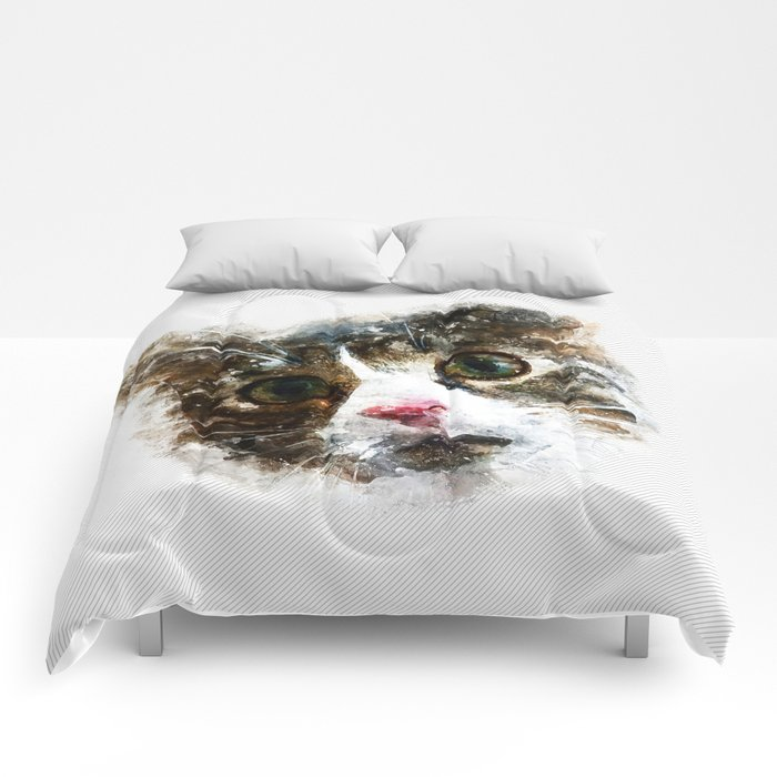 cat for real watercolor mix Comforters
