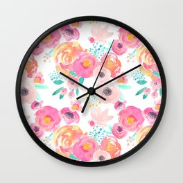 Indy Bloom Design Blush White Florals Wall Clock