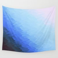 ombre Wall Tapestries featuring Blue Ombre by 2sweet4words Designs