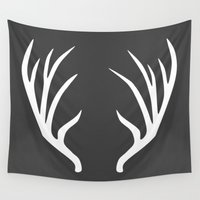 antlers Wall Tapestries featuring antlers by Amanda Nicole
