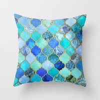 navy Throw Pillows featuring Cobalt Blue, Aqua & Gold Decorative Moroccan Tile Pattern by micklyn