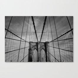 New York City, Brooklyn Bridge B/W Canvas Print