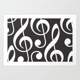 Clef music notes white grey Art Print