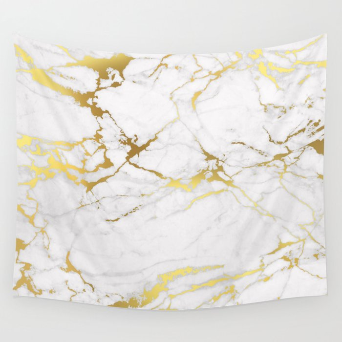 White Gold Marble Wall Tapestry By Printapix Society6
