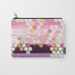 Beautiful Beach Imagery with Marble, Glitter, gold and rose gold geometric tiles Carry-All Pouch