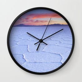 I - Salt flat Salar de Uyuni in Bolivia at sunrise Wall Clock